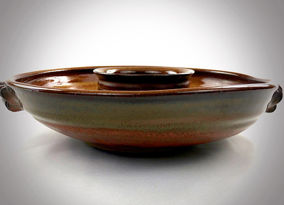 """Tan Brown and Red Brown Chip & Dip Bowl with Handles - 12.25"""" x 3"""""""