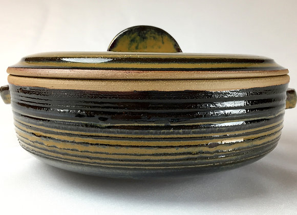 Stripped Brownish and Green Casserole Dish - 5.5' X 11""