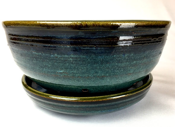 """Blueish Green and Blue Colander with Saucer -5"""" x 9.5"""""""
