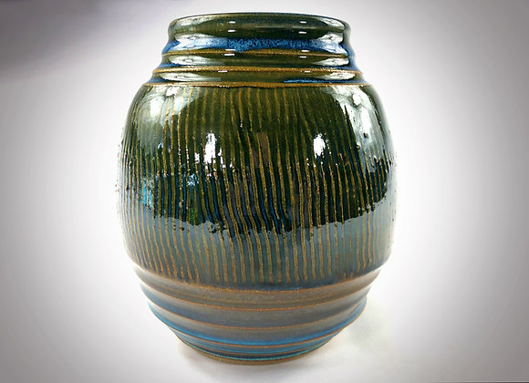 "Blue and Green Textured Vase - 6.5""x 7.5"""