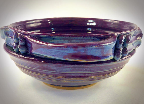 """Purple and Blue Colander with handles and tray - 8.5"""" x 3.5"""""""