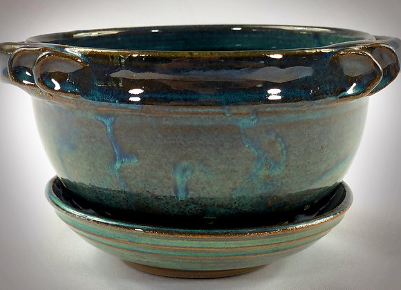 """Small Blue and Blue Green Colander with handles and tray - 7.75"""" x 4.5"""""""