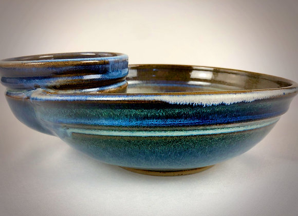 """Blue Green and Green Blueish Gray Chip & Dip Bowl- 11"""" x 4.5'"""