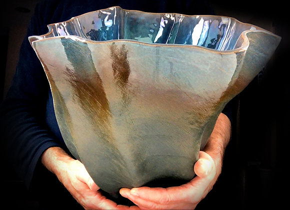 "Green Brown and Blue Gradient Vessel - 16"" x 14"" x 15"""