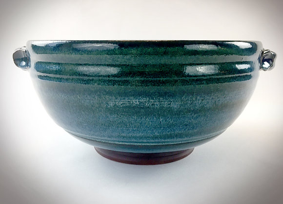 """Large Blue Green and Blue Bowl with Handles - 13.25"""" x 6"""""""