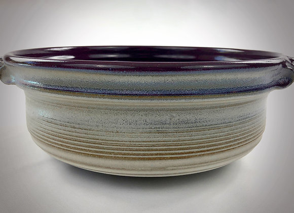 "Large Purple and White Bowl with Handles - 13"" x 4.5"""