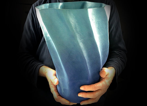 "Dark to Light Blue Gradient Vessel - 8"" x 9"" x 14"""
