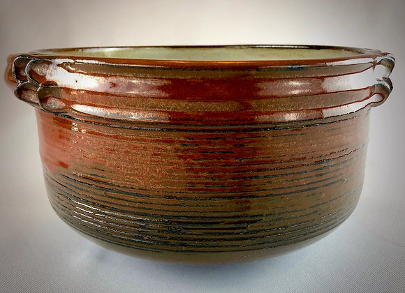 "Reddish Brown and White Pink Pottery Bowl with Handles - 9.5"" x5.25"""