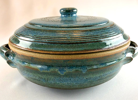 "Blue Green and Tan Ceramic Casserole - 10.5"" x5.5"""