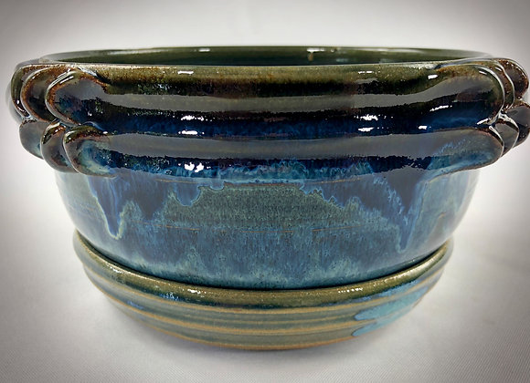 """Blue and Blue Green Colander with handles and tray - 8.5"""" x 4.5"""""""