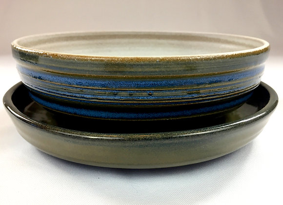 """Medium White and Blue Collander with Saucer - 8"""" x 3"""""""
