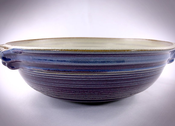 "White & Purple Bowl with handles - 10.5"" x 3.25"""