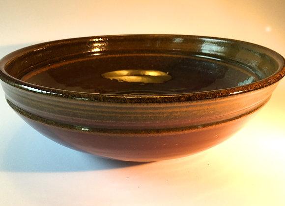 "Medium Brown and Purple Bowl - 3.25"" x 10.5"""