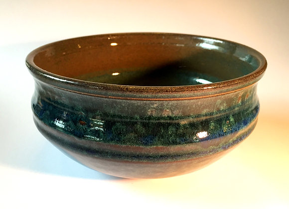 "Medium Blue and Green Bowl - 3"" x 7"""
