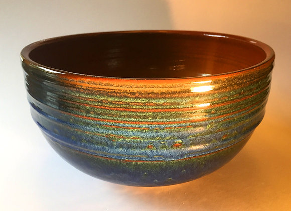 """Large Blue and Red Bowl - 5.5"""" x 10"""""""