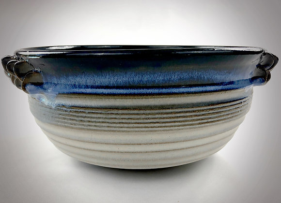 "Large Blue and White Bowl with Handles - 11.75"" x 5"""