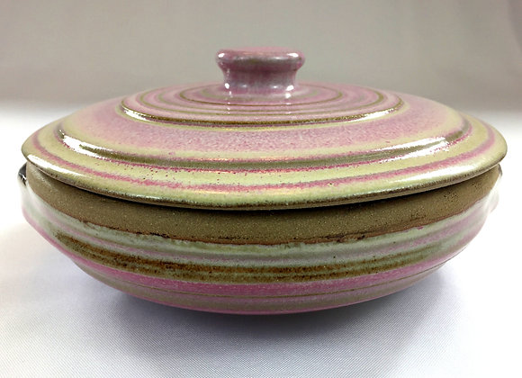 "Small Pinkish White and Rust Red Covered Dish - 8.5"" x 3.5"""