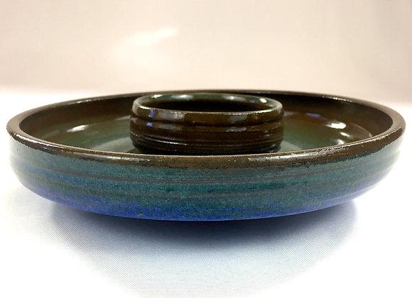 "Small Green and Blue Chip & Dip Bowl - 9.5"" x 2.25"" (4"" dip bowl)"