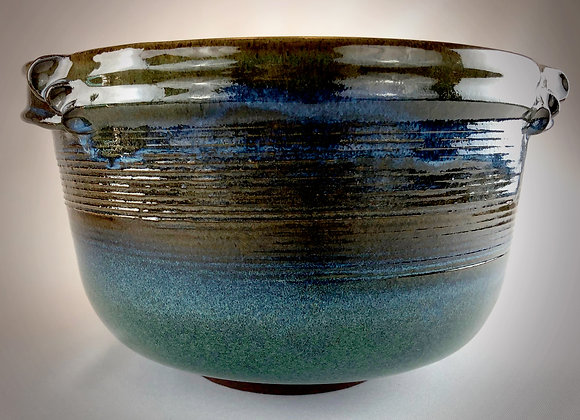 """Blue Green and Tan Stoneware Bowl with Handles - 11.5"""" x6.5"""""""