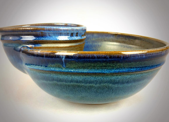 """Blue Green and Green Blueish Gray Chip & Dip Bowl - 12"""" x 5'"""