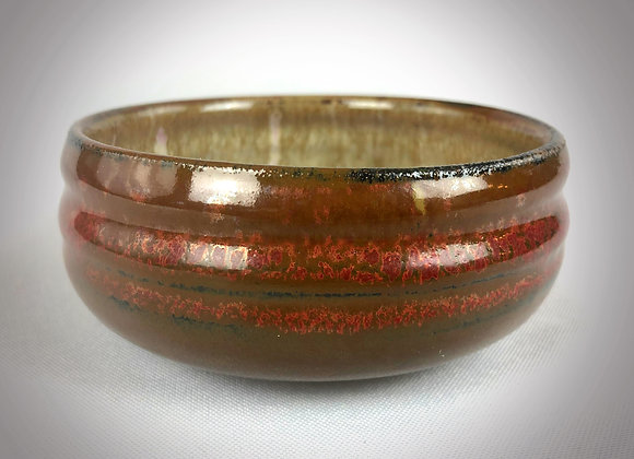 """Small Red Brown and Pink bowl - 4"""" x 2"""""""