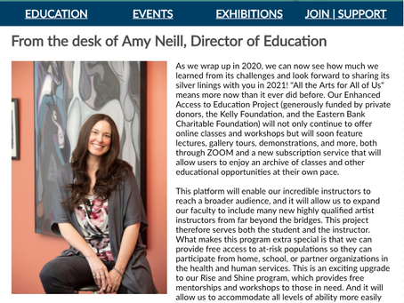 THE WEEKLY MUSE - From the desk of Amy Neill, Director of Education