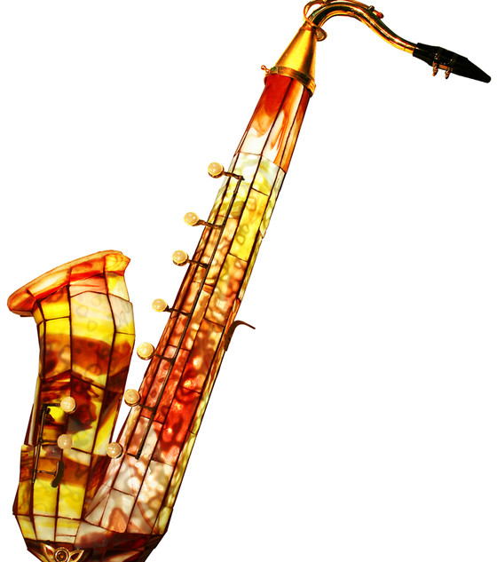 Stained Glass, 3D, Illuminated (Back-lit) Tenor Saxophone
