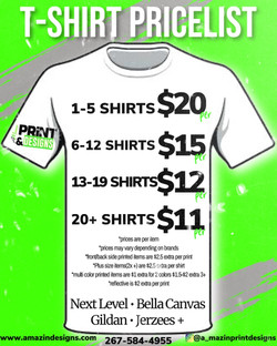 T-shirt pricelist