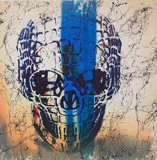 SKULL BLUE STRIPE 44cm x 44cm