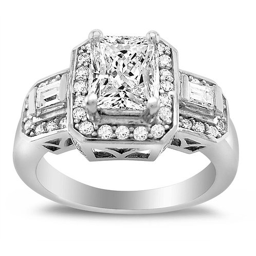 14k White Gold 1 5/8ct TGW Emerald-cut Diamonette Engagement Ring
