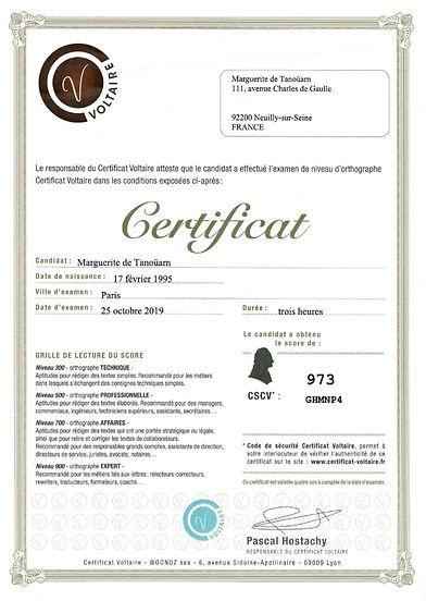 Certificat Voltaire en orthographe, niveau expert