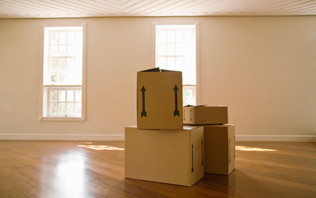 Boxes in empty house
