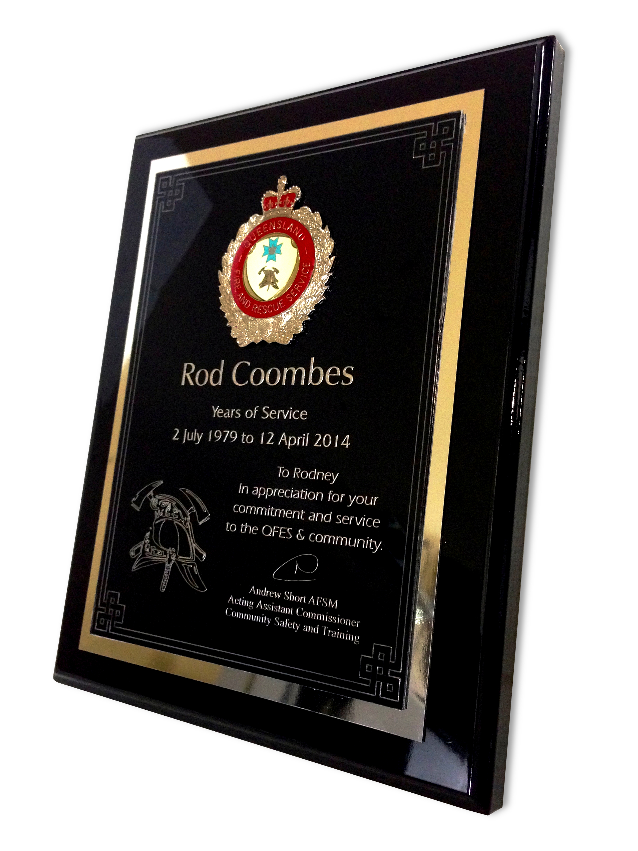QLD Fire & Rescue Plaque