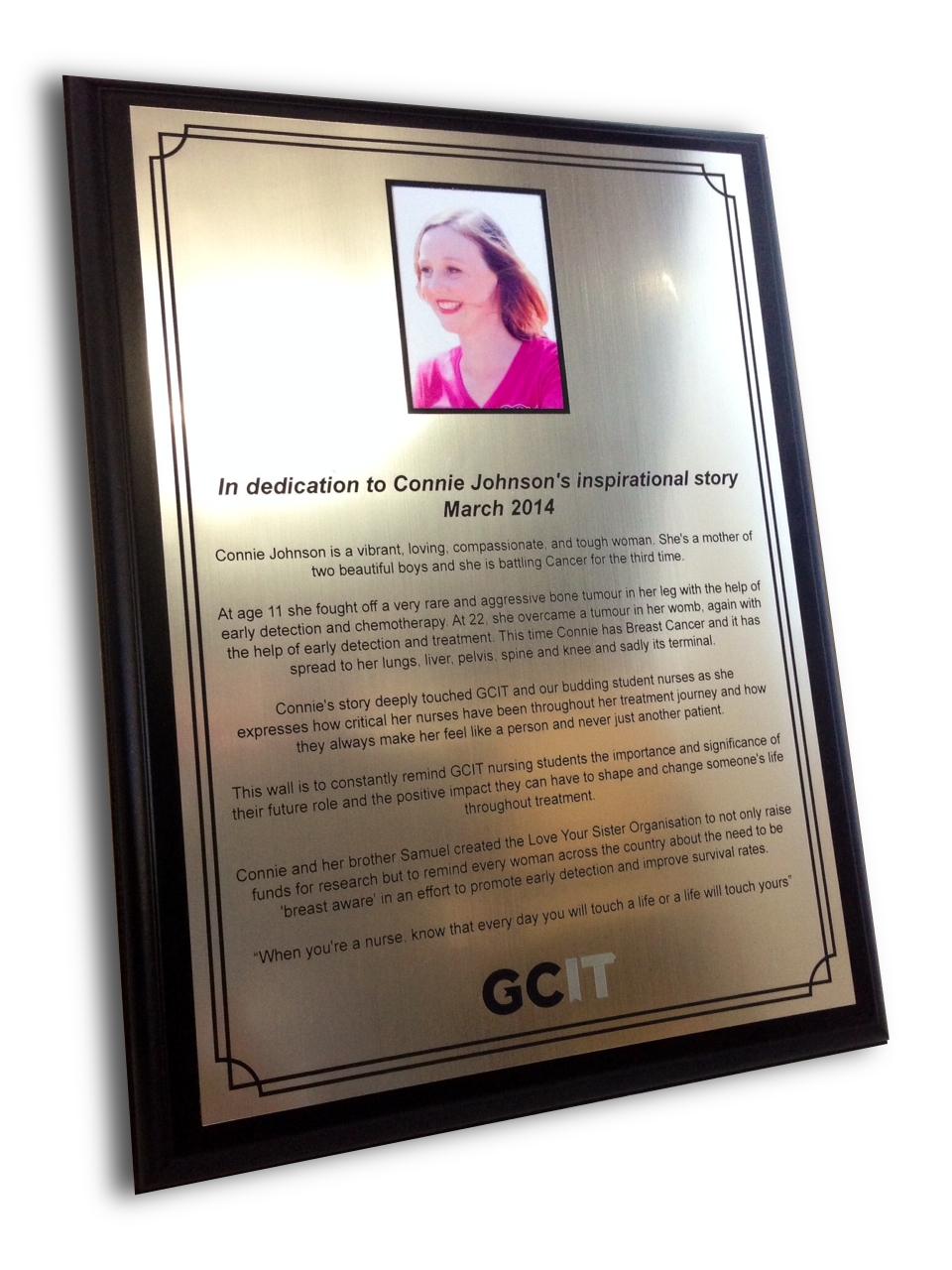 GCIT Memorial Plaque
