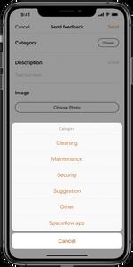 Spaceflow app send feedback