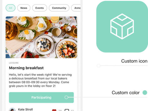 Support your branding with a custom icon and in-app colours