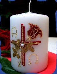 Kerze Kreuz mit Rose