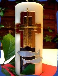 Kerze Kreuz und Fische