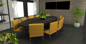 Render 5 optie ovale tafel + Vensterbank