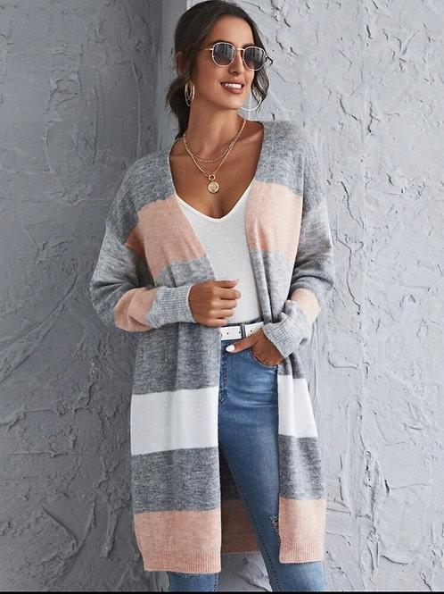 Colorblock Knit Long Cardi, L