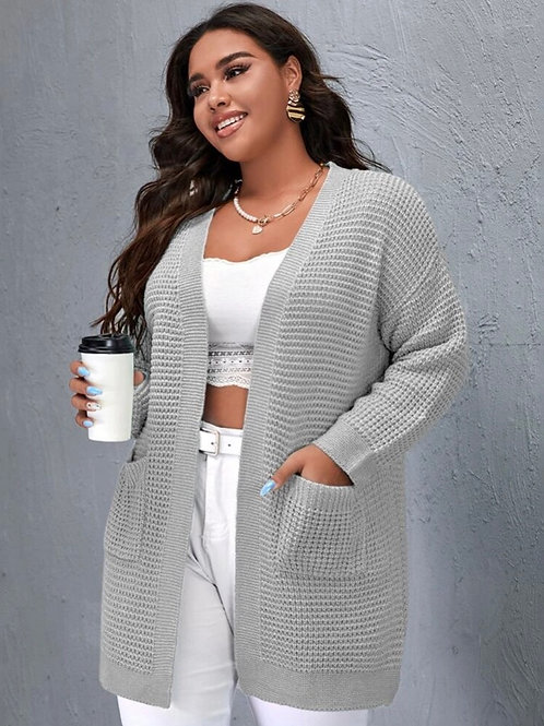 Gray Waffle Knit Cardi, 3XL