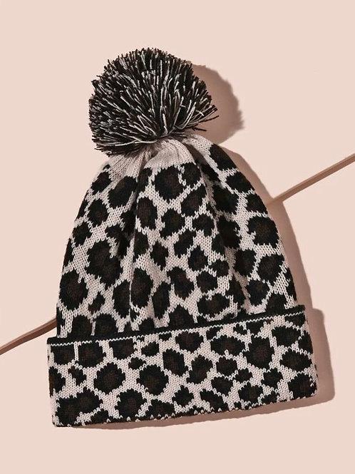 Leopard Knit Pom Hat