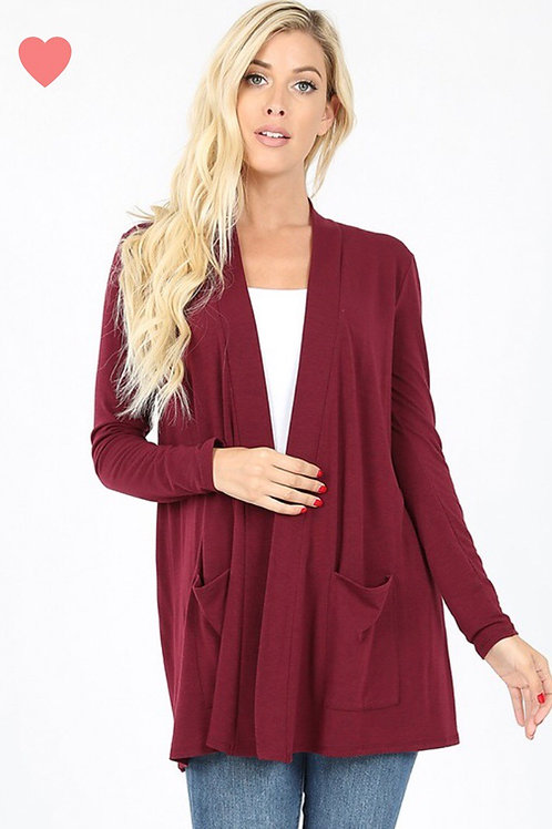 Open Pocket Cardi, red wine