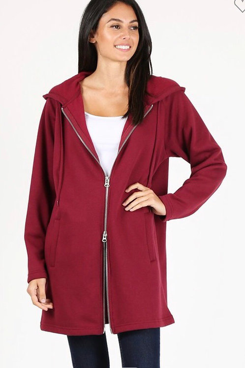 Ultimate Sweatshirt Jacket, Dark Apple Red