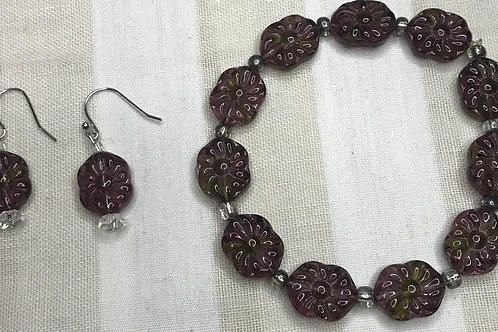 Smoky Purple Boho Bracelet & Earrings Set