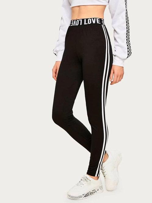 Athletic Stripe Leggings, black,XL