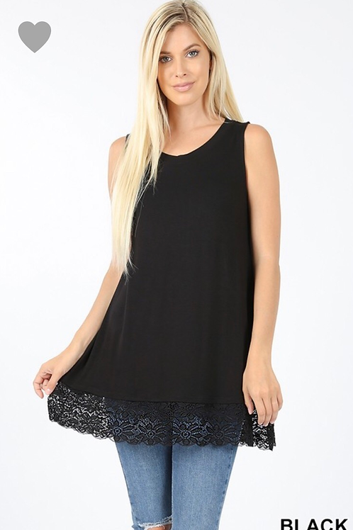 Lace Trim Tank, black, S or M