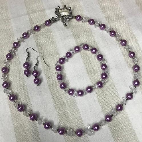 Lilac Queen Necklace, Bracelet & Earrings Set
