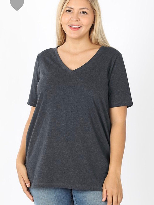 V-Neck Tee charcoal, 1XL or 2XL