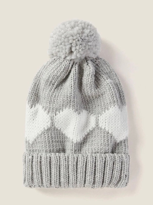 Light Gray with Hearts Pom Hat
